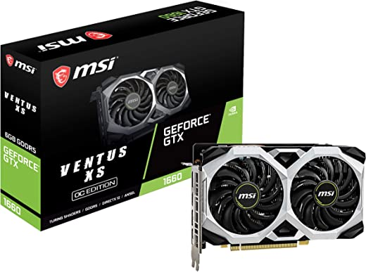 MSI Gaming GeForce GTX 1660 192-Bit HDMI/DP 6GB GDRR5 HDCP Support DirectX 12 Dual Fan VR Ready OC Graphics Card (GTX 1660 VENTUS XS 6G OC)