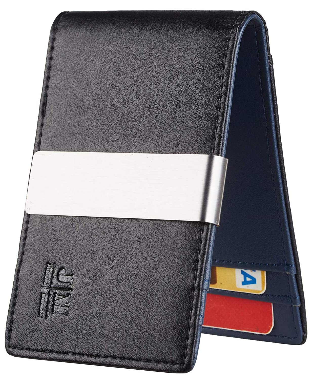 ea49403c314e68 JM Minimalist Slim Leather Wallet Money Clip Credit Card Holder for Men  RFID Blocking (napa black and blue) at Amazon Men's Clothing store: