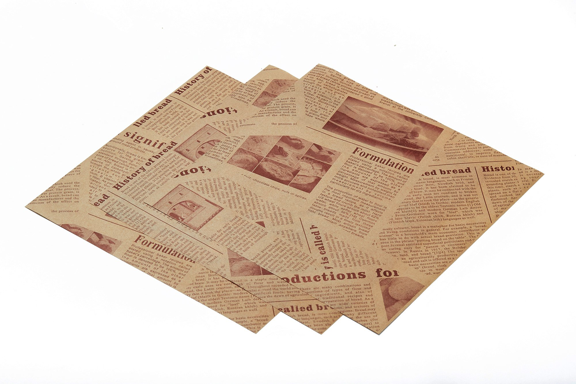 Mannily Food Grade Tissue Paper Food Basket Liners - Deli/BBQ Sandwich Wrapping Tissue - Kraft Paper Color Newsprint - 200 Square Sheets 8.66'' x 8.66'' (OldNewsprint)