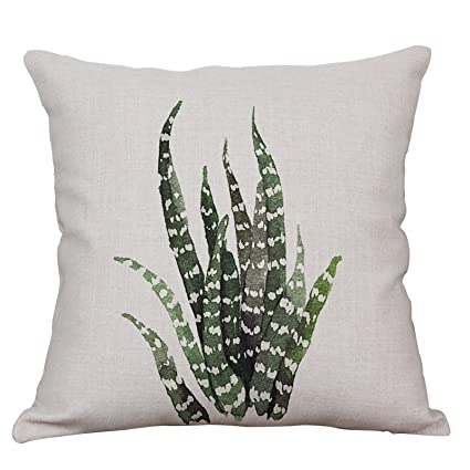 Green Plant Decorative Throw Pillow Covers Cotton Linen Square Cushion  Cover Outdoor Sofa Home Pillow Covers