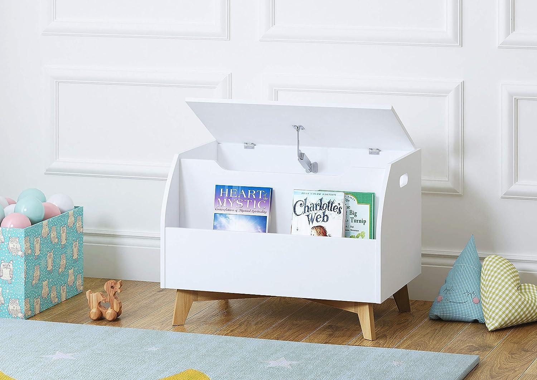 UTEX Children Toy Box with Front Book Storage Area, Kids Toy Storage Bench, White