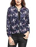 Keland Damen Beachwear Strandjacke Bomberjacke Blouson mit floralem Allover-Print