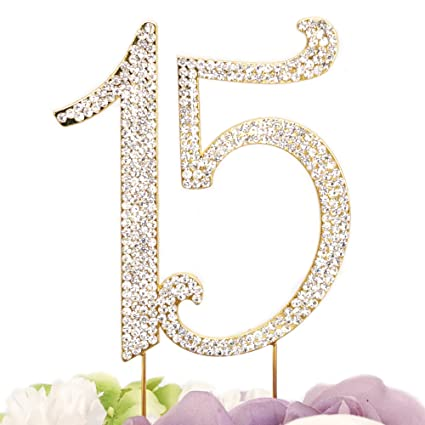 Amazon Gold Plated Number 15 Birthday Quinceneara Sweet
