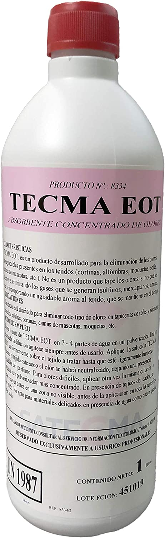 Eliminador de olores concentrado para tapicerías TECMA EOT 1L - SATECMA. para olores por