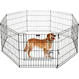 Pet Trex Foldable Metal Pet Exercise Playpen Collection – Indoor/Outdoor Enclosure with Gate for Dogs, Cats or Small Animals