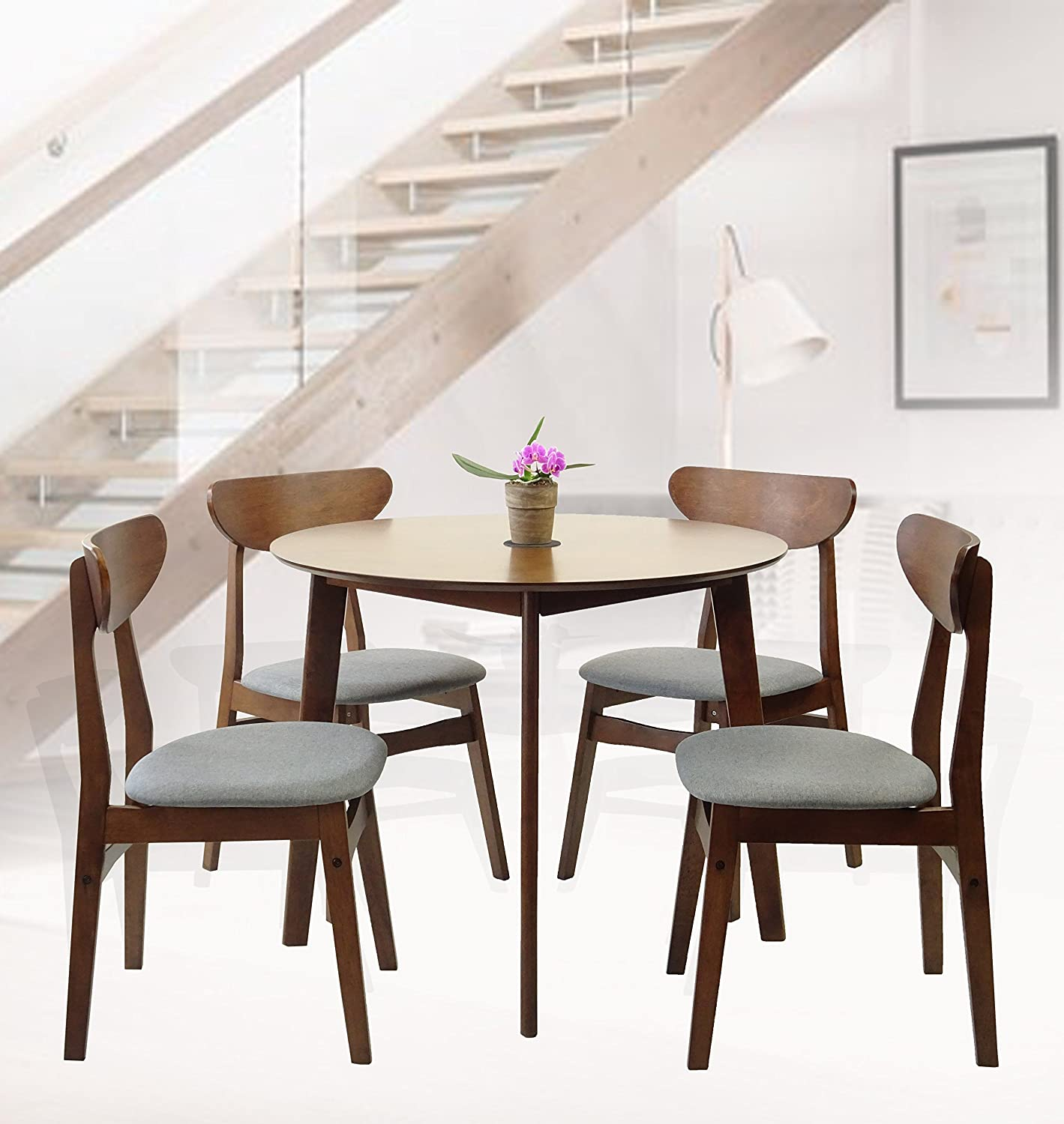 Rattan Wicker Furniture Set of 5 Dining Kitchen Round Table and 4 Yumiko Side Chairs Solid Wood w/Padded Seat Medium Brown Finish