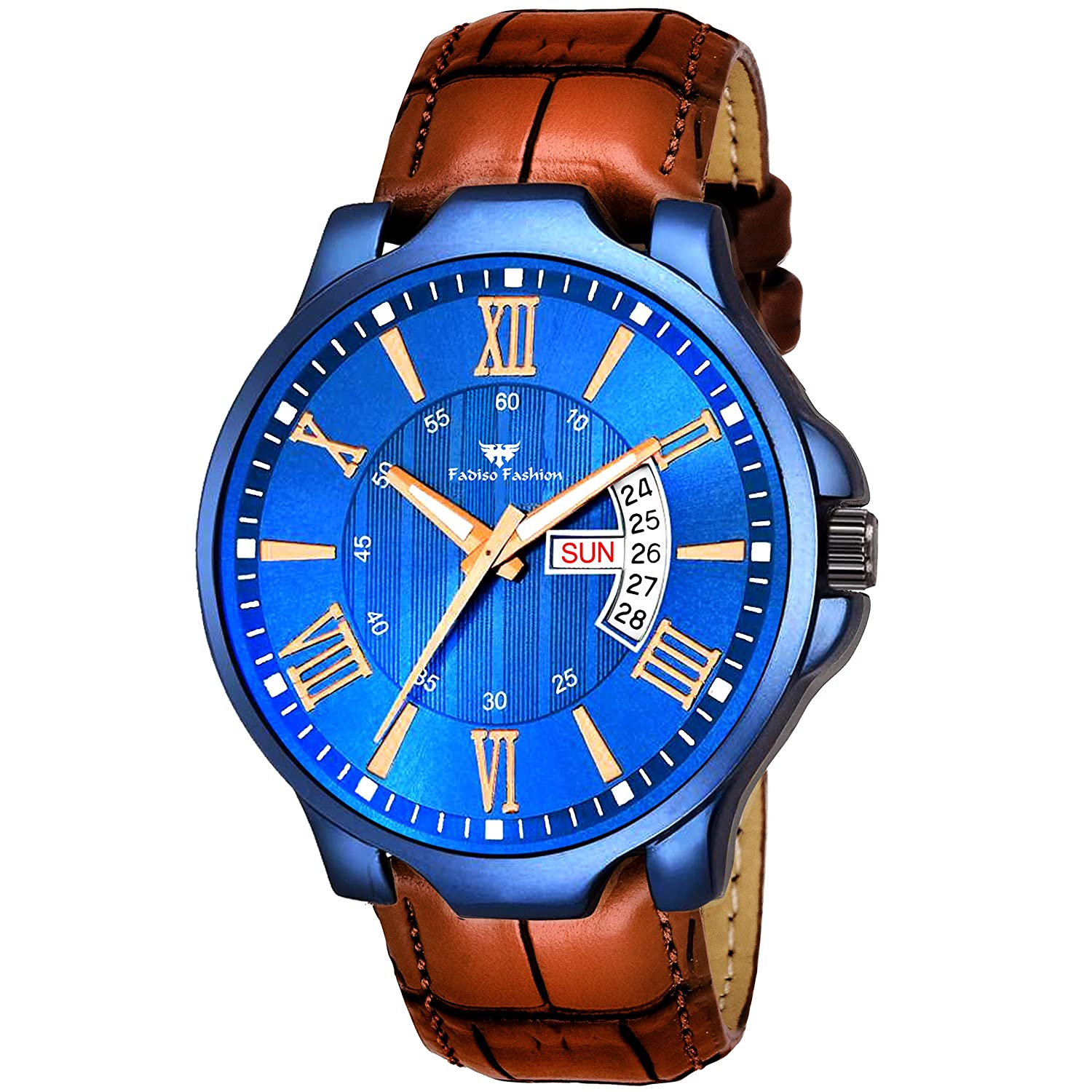 FF1167-BL BR Blue & Brown Day & Date Unique New Watch