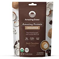Amazing Grass Amazing Protein Creamer, Plant-Based Protein with Coconut MCT Oil, Dark Chocolate, 12 Servings
