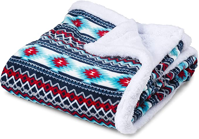 Amazon Com Trailcrest Ultra Soft Sherpa Fleece Throw Blanket Cozy Plush Adult Blanket For Men Women Reversible With Aztec Prints Machine Washable 6 Colors Kitchen Dining