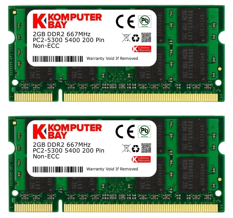 Memoria Ram 4GB 2X2GB DDR2 667MHz PC2-5300 SODIMM Komputerba