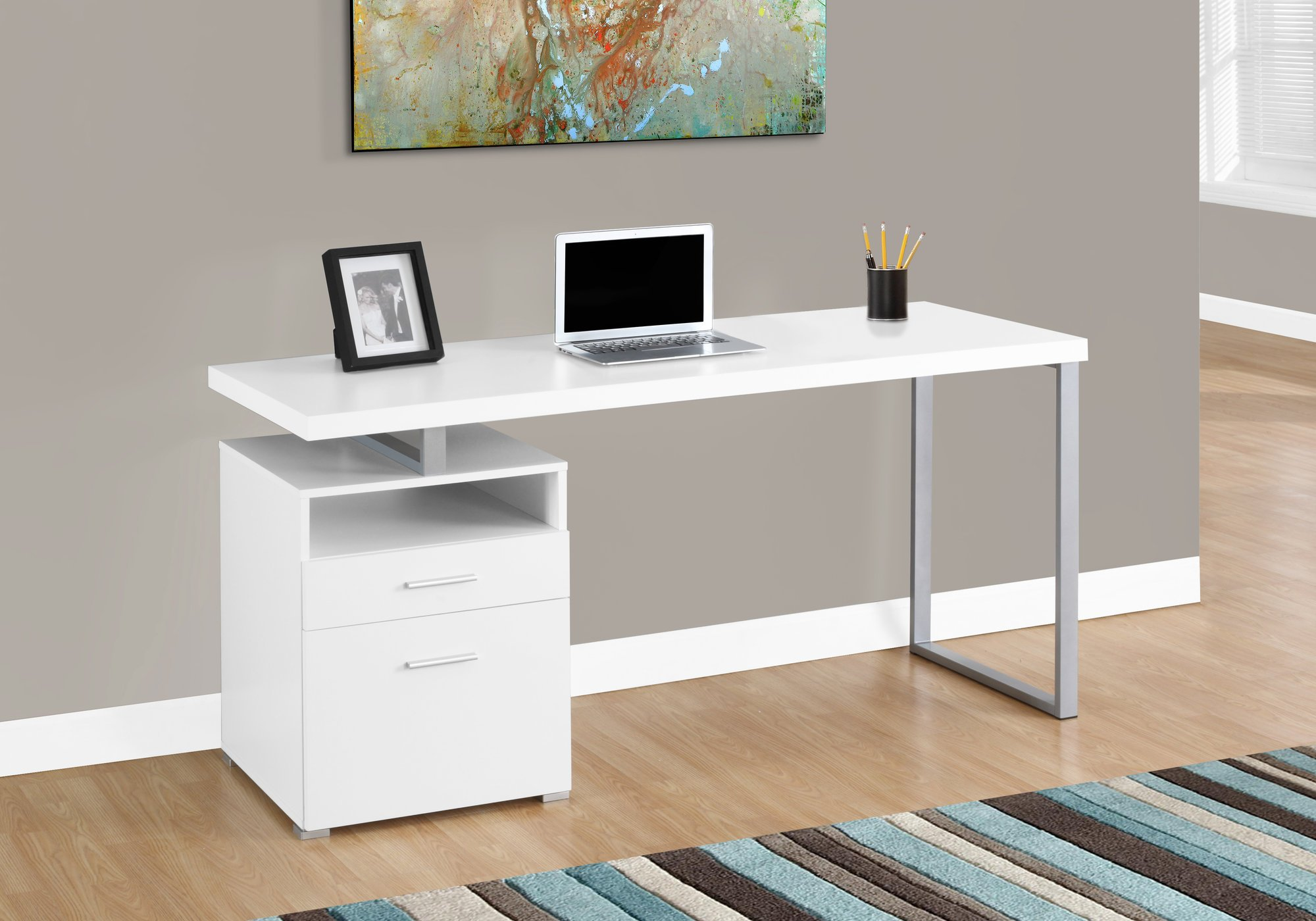 Monarch Specialties I I 7144 Laptop Table with Drawer Open Shelf and File Cabinet - Left or Right Set Up Computer, Writing Desk for Home & Office, 60'' L, White by Monarch Specialties