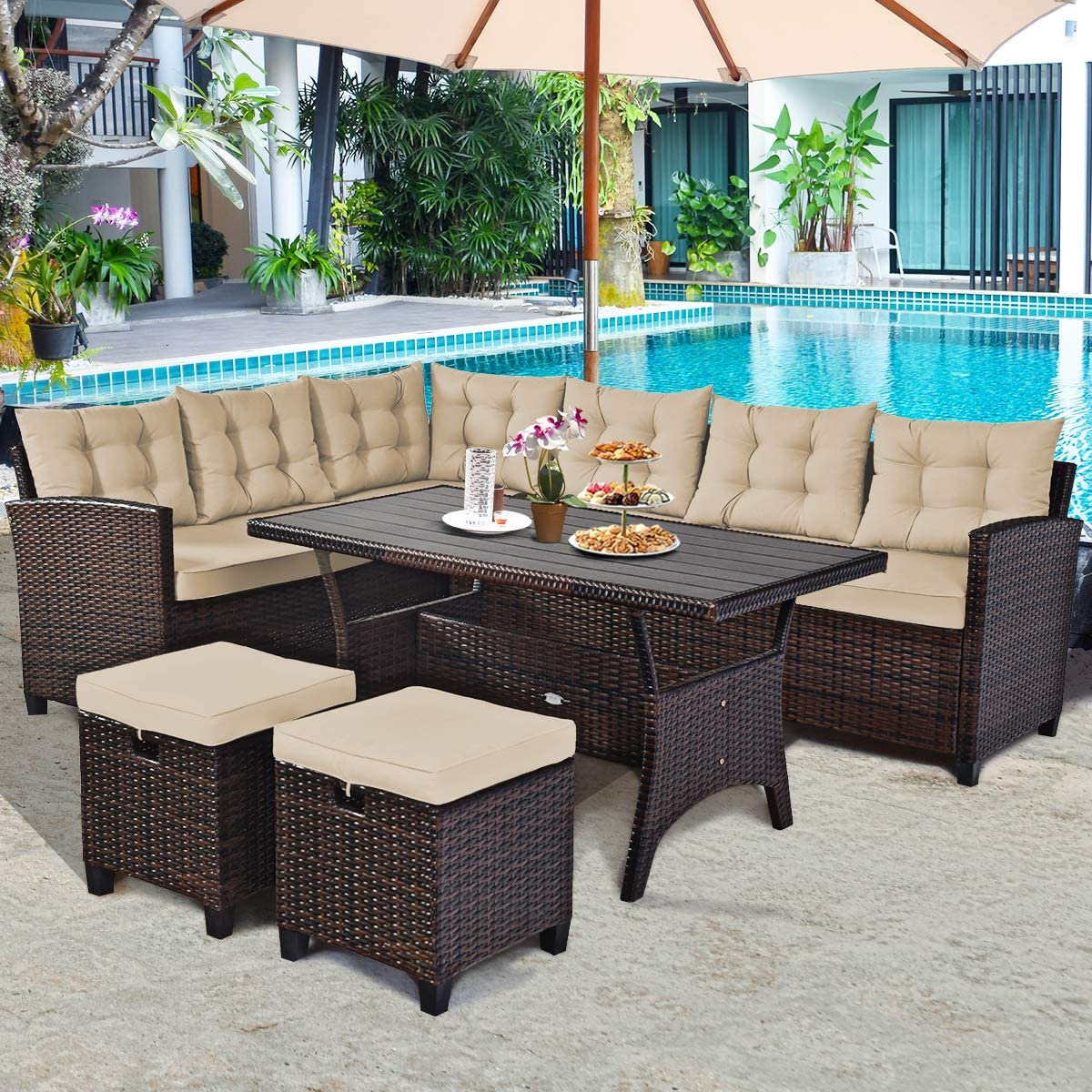 Tangkula 5 Piece Outdoor Patio Set with Cushions