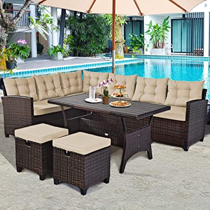 Amazon Com Tangkula 5 Pcs Patio Furniture Set Outdoor Conversation Set With 6 Cushioned Seat 2 Ottomans Coffee Table All Weather Wicker Dining Table Set With Ottoman Rattan Sectional Couch Sofa Set