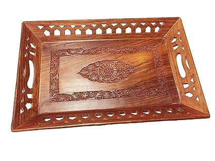 Regalo de la acción de gracias para sus seres queridos Bandeja de madera con tallado trabajo