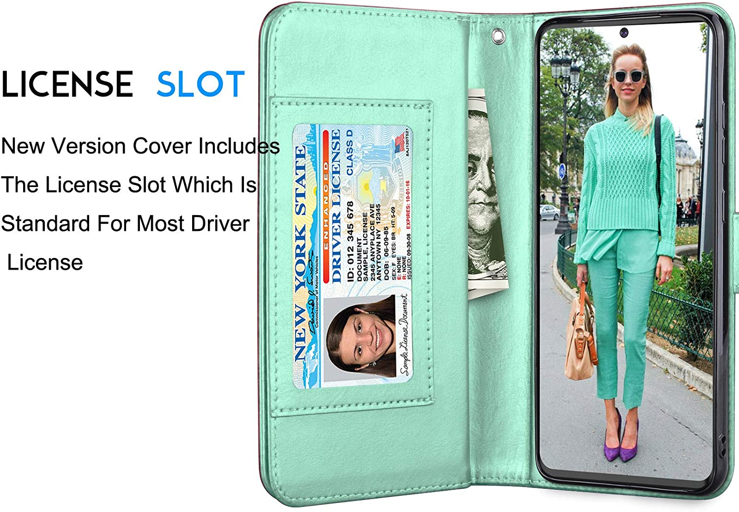 PU Leather Cash Credit Card Slots Holder Carrying Folio Flip Cover Eutekcoo Galaxy S20 Ultra Case for Samsung S20 Ultra Turquoise Galaxy S20 Ultra Wallet Case Detachable Magnetic Hard Case