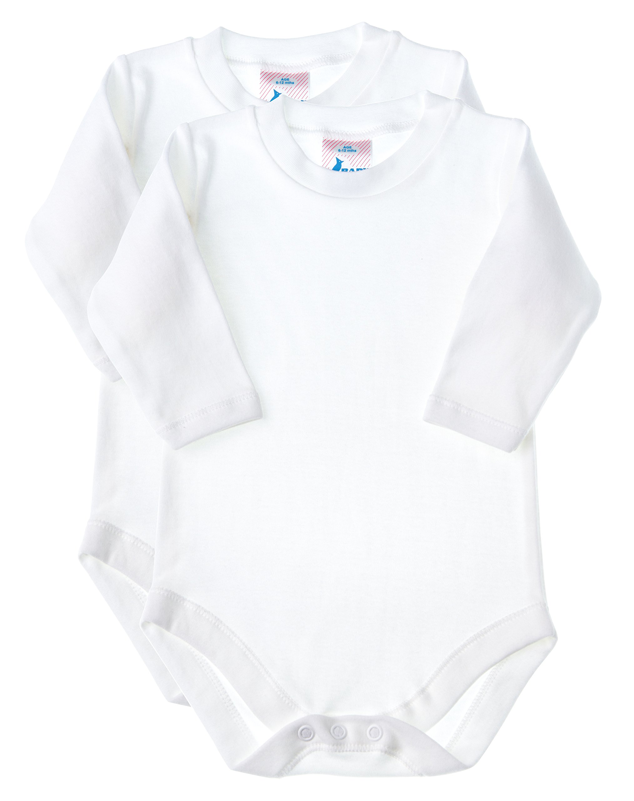 Baby Jay Soft Cotton Onesies, Long Sleeve Unisex Bodysuit, WSLR 3-6 2-Pack by Baby Jay (Image #1)