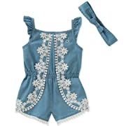Calvin Klein Baby Girls Romper Set, Light Blue Denim, 6-9 Months