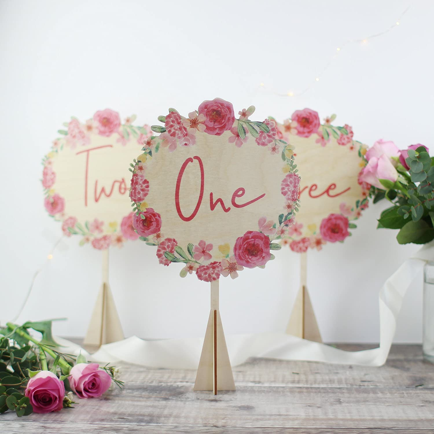 Wedding Table Number - Pink Floral Table Number - Wooden Table Number - Rustic Wedding - Pink Roses - Pink Wedding Table Numbers - Table