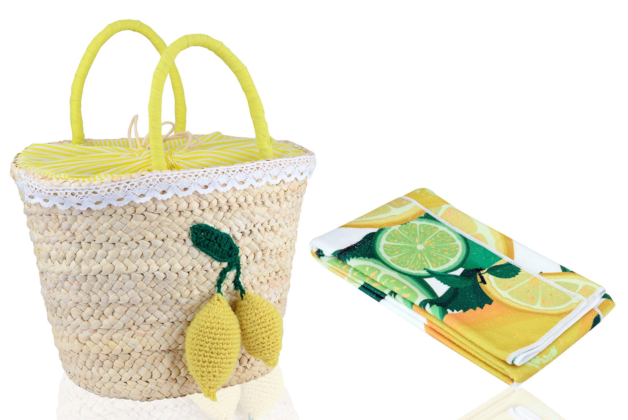 Novillia Picnic Bag Pack Of 2 Beach Towels By Handmade Straw Bag With LemonCharm