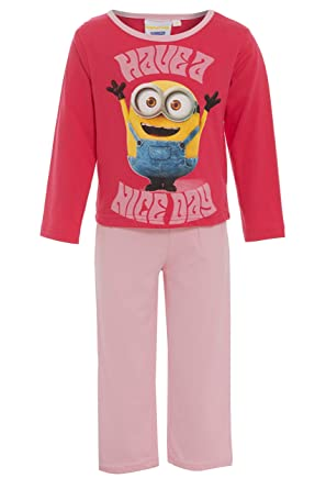85ad2451477d MINIONS Girls 100% Cotton Pyjamas Official Pink PJs Illumination  Entertainment  Amazon.co.uk  Clothing