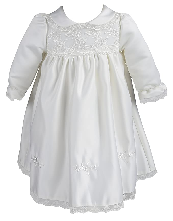 1930s Childrens Fashion: Girls, Boys, Toddler, Baby Costumes NIMBLE Baby Girl Newborn Christening Long Sleeves Lace Satin Gown Dress 0-9M $24.99 AT vintagedancer.com