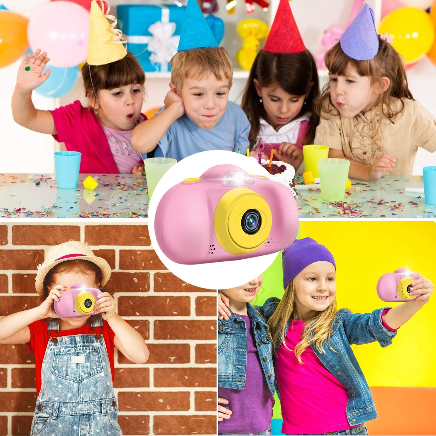 GBD [NEW] Kids Camera Toys for Boys Girls,12MP HD 1080P Selfie Video Camera with MP3 Player Games DUAL Lens, 2.4'' Digital Camcorder Recorder Back to School Birthday Gift,(Free 16GB Memory Card) (Pink) by GBD (Image #6)