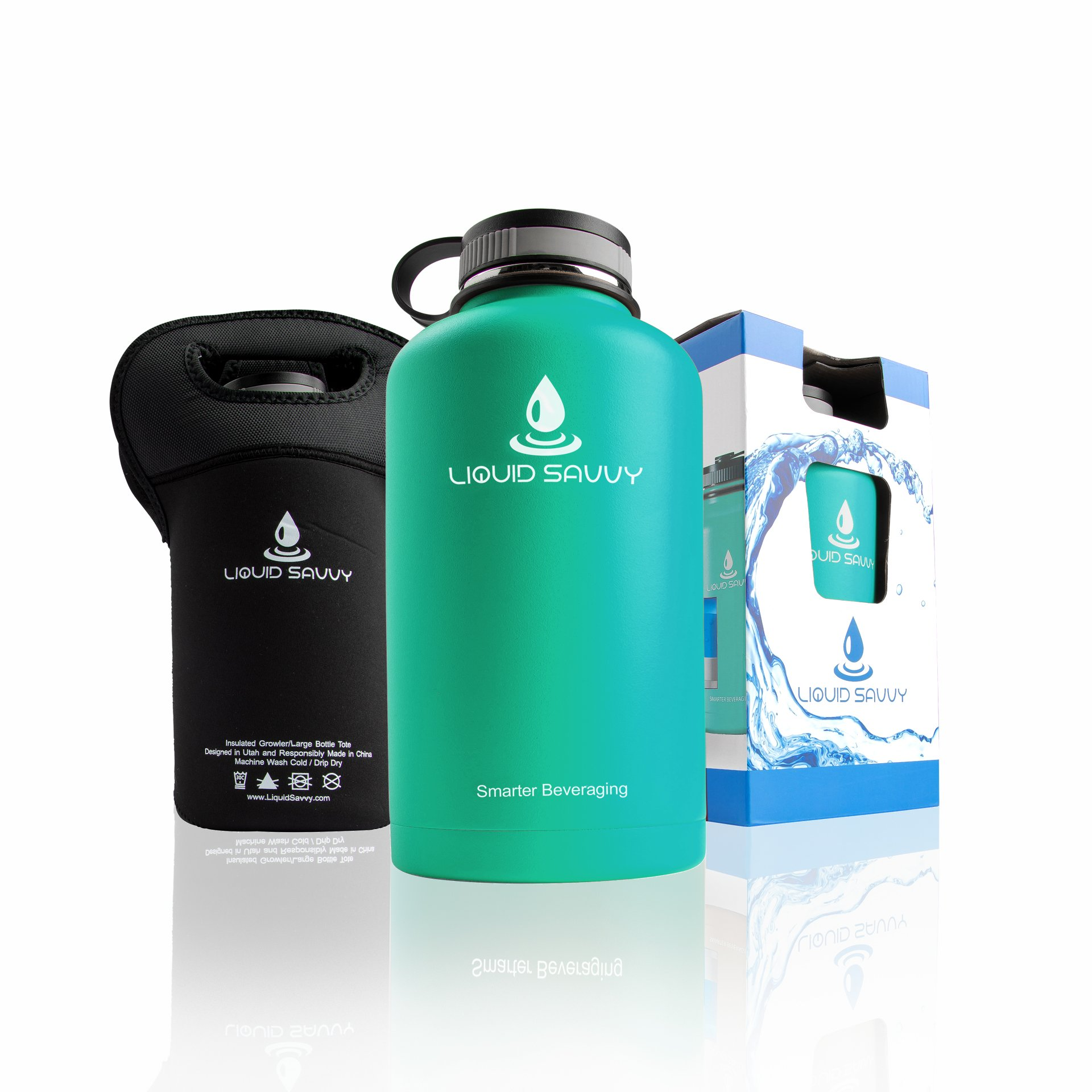 Liquid Savvy 64 oz Insulated Water Bottle with cup lid and carrying sleeve - Stainless Steel, Wide Mouth Double Walled Vacuum Insulated Bottle for Hot and Cold Beverages (Teal)