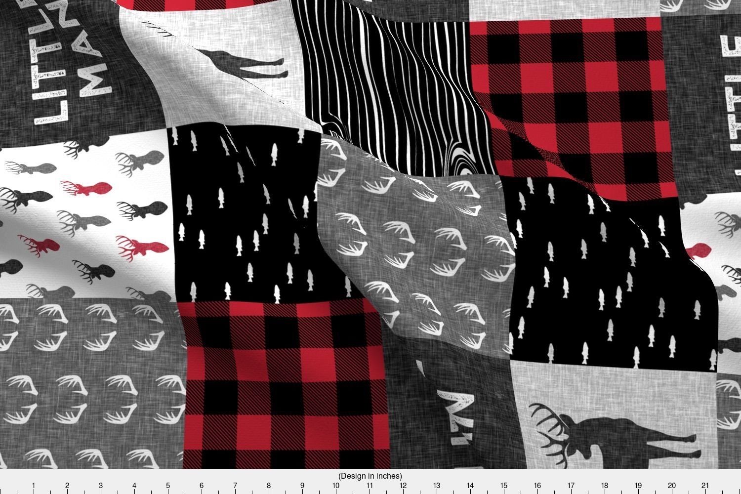 Spoonflower Patchwork Fabric Little Man (90) - Red and Black (Buck) Quilt Woodland by Littlearrowdesign Printed on Basic Cotton Ultra Fabric by The Yard