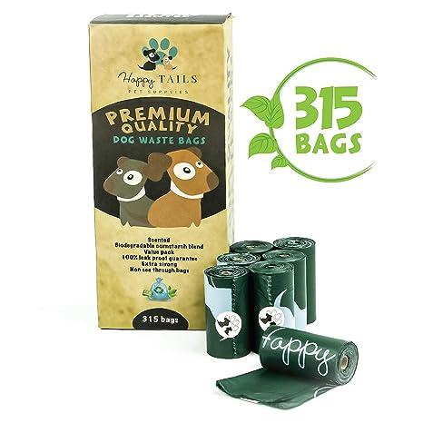 Happy Tails Pet Supplies 315 Bolsas Para Recoger Excremetos De Perro | 21 Rollos Biodegradables Para Caca De Perro | Extra Grandes Y Gruesas | Bolsas ...