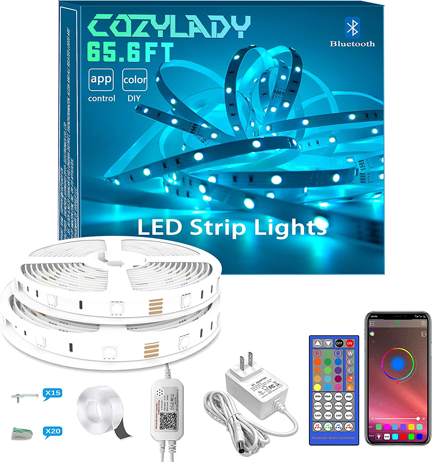 Bluetooth LED Strip Lights 65.6FT - Cozylady LED Light Strip Controlled by Smart Phone APP- Music Sync LED Lights for Bedroom Aesthetic, Room Decor
