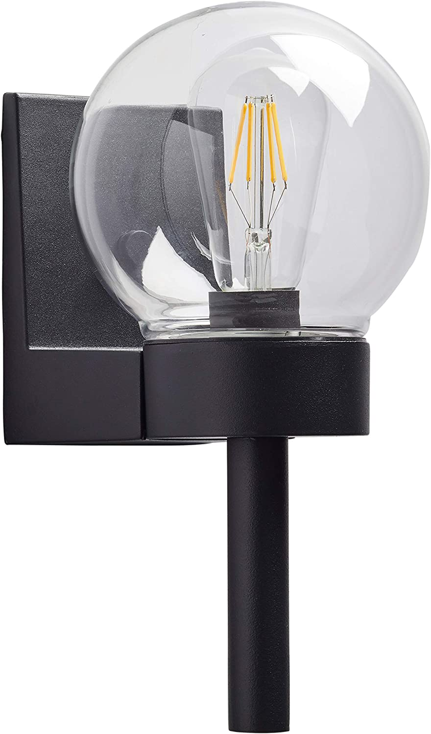 Amazon Brand – Rivet Mid-Century Modern Glass Globe Exterior Porch Wall Sconce Fixture with Light Bulb - 5.87 x 7.12 x 11.87 Inches, Black