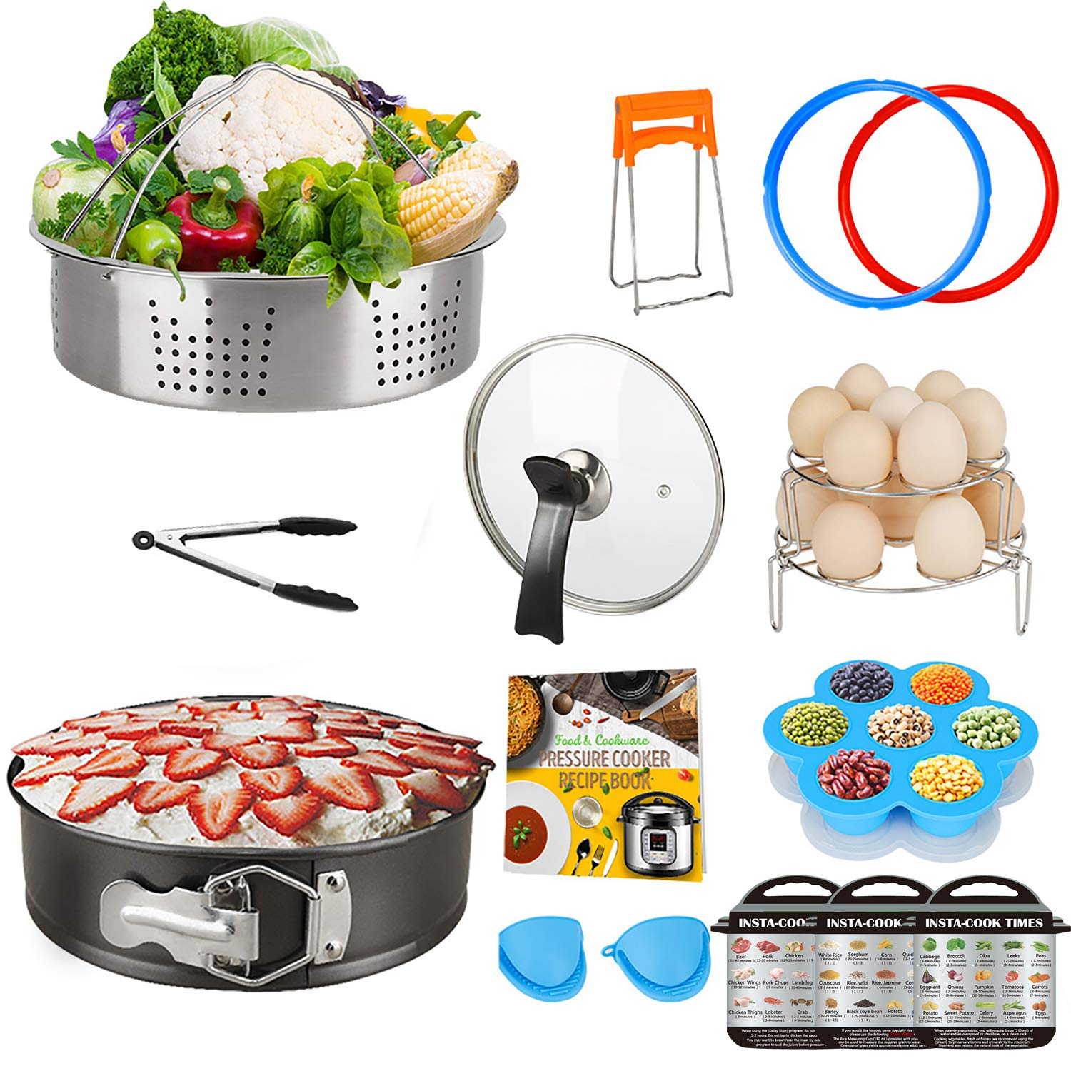 Pressure Cooker Accessory Set, Accessories 6 Qt Compatible with 6Qt Instant Pot, with Silicone Sealing Rings, Tempered Glass Lid, Steamer Basket, Non-Stick Springform Pan by Acnusik