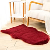 Faux Sheepskin Fur Fuzzy Rug with Rug Grippers for Burgundy Area Rug, 2x3 Ft Small Furry Rugs, Alfombras para Habitacion…