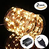 2 Pack Fairy Lights USB Plug In, 33Ft 100 LED Warm White Waterproof Starry String Lights for Bedroom Indoor Outdoor Decorative