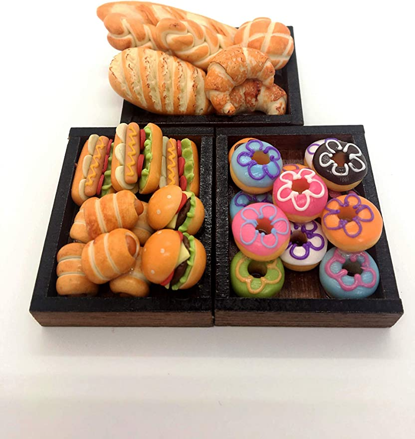 6 Mini Cookies Bakery Wooden Wood Tray Dollhouse Miniatures Food Supply Loose
