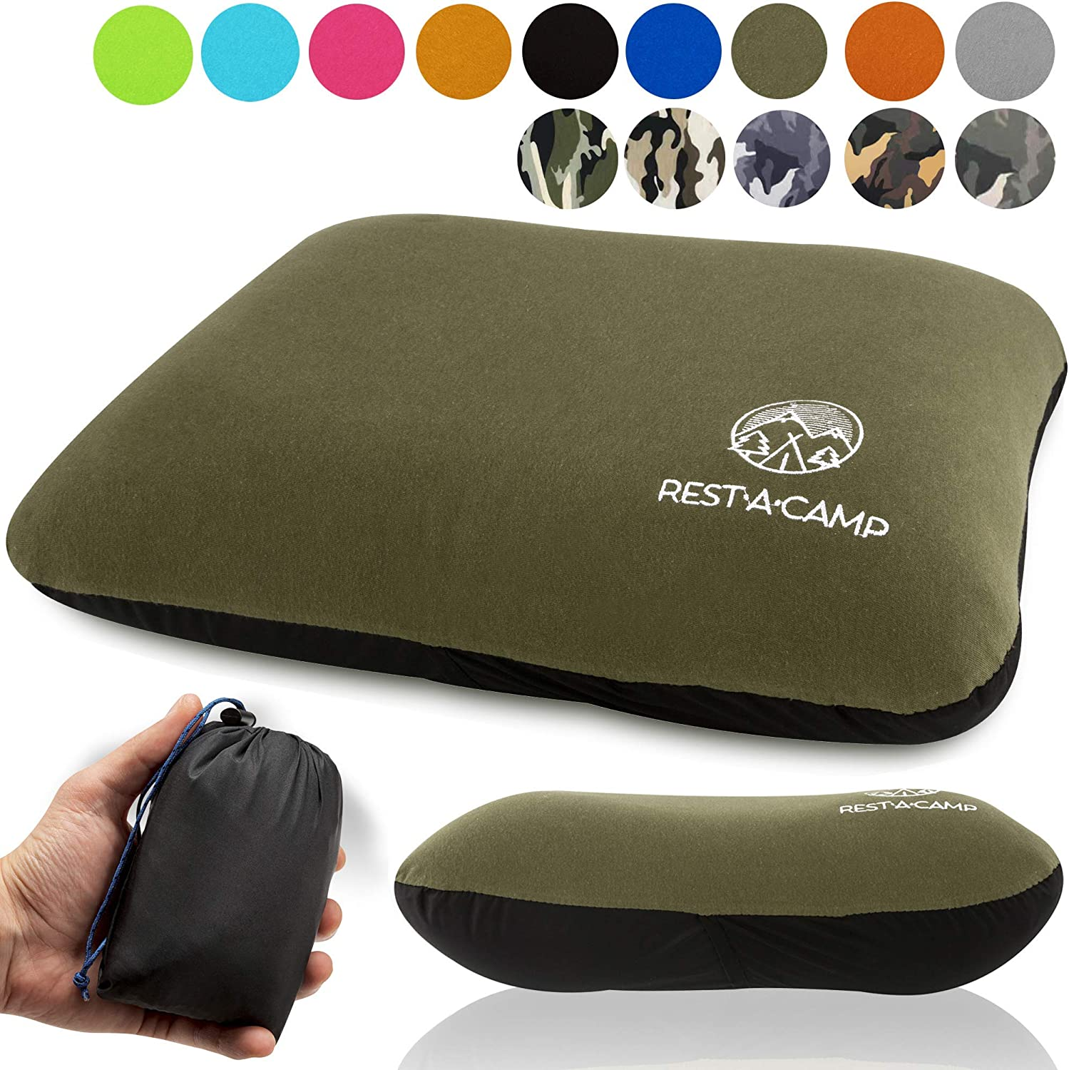 Rest-A-Camp Inflatable Camping Travel Pillow Ultralight