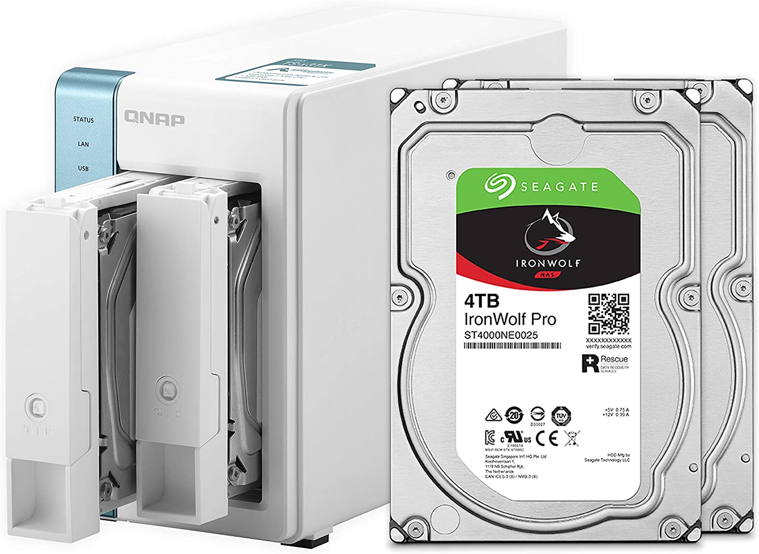 QNAP 2 Bay Home NAS with 4TB Storage Capacity, Preconfigured RAID 1 Seagate IronWolf Drives Bundle,with Two 1GbE Ports (TS-231K-24R-US)