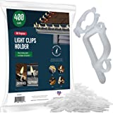 SEWANTA All-Purpose Light Clips Holder - Set of 400 Christmas holiday Outdoor light hooks - Mount lights to shingles & gutters, work with Rope, Mini, c-7-6-9, Icicle Lights. No tools required-USA Made