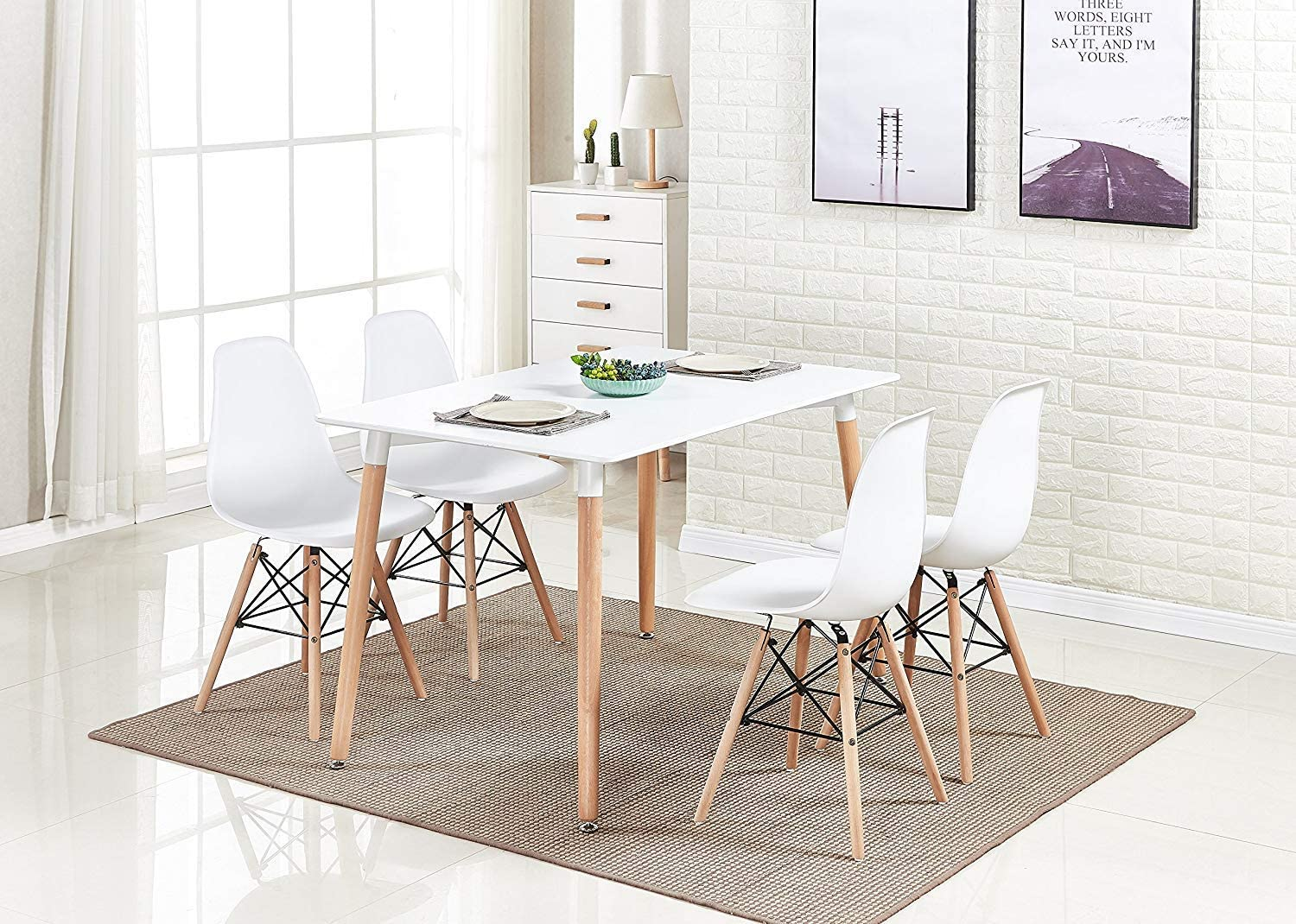 Amazon Com Homesailing White Wood Dining Table And 4 Chairs Set 5 Pieces Kitchen White Wooden Dining Table And 4 Retro Eiffel Plastic Chairs For Dining Room Restaurant Office Tea Room Home