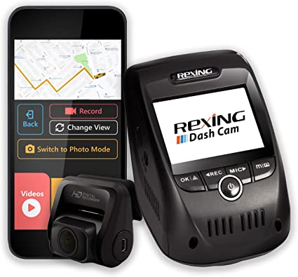 Rexing OnDash Cameras V1P Pro Dual 1080p Full HD Front And Rear 170 Degree Wide