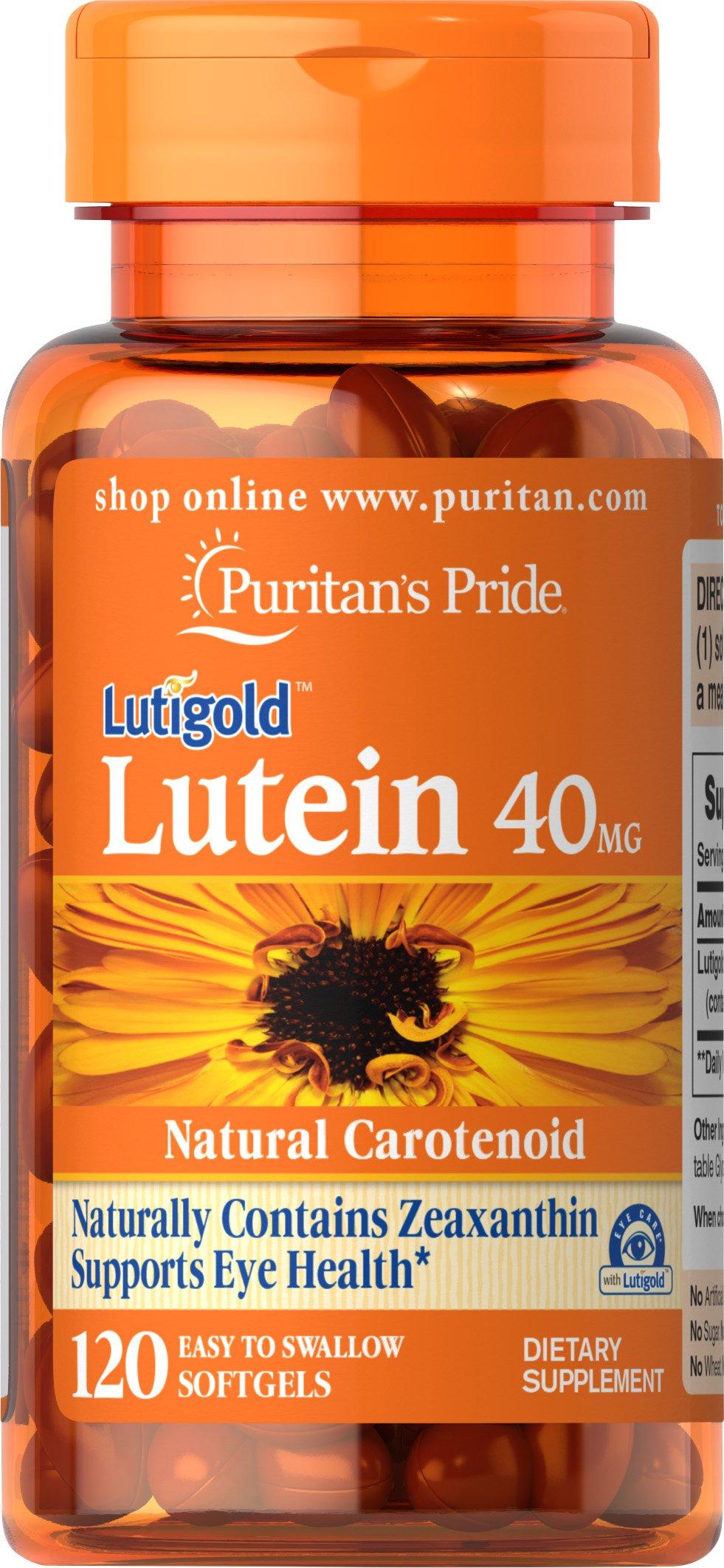 Puritan's Pride Lutein with Zeaxanthin 40 mg, Eye Health Supplement**, 120 Softgels