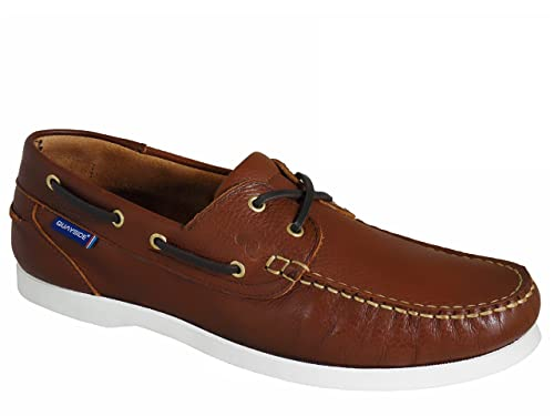 Mens Quayside Alderney Quality Leather Deck Shoes Tan White UK 9.5 ... f005f866f