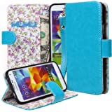 Galaxy S5 Case, E LV Samsung Galaxy S5 Case Cover Flip Folio [Magnetic Close] Full Body Protection with Stand Feature, Card Slots forSamsung Galaxy S5 - BLUE