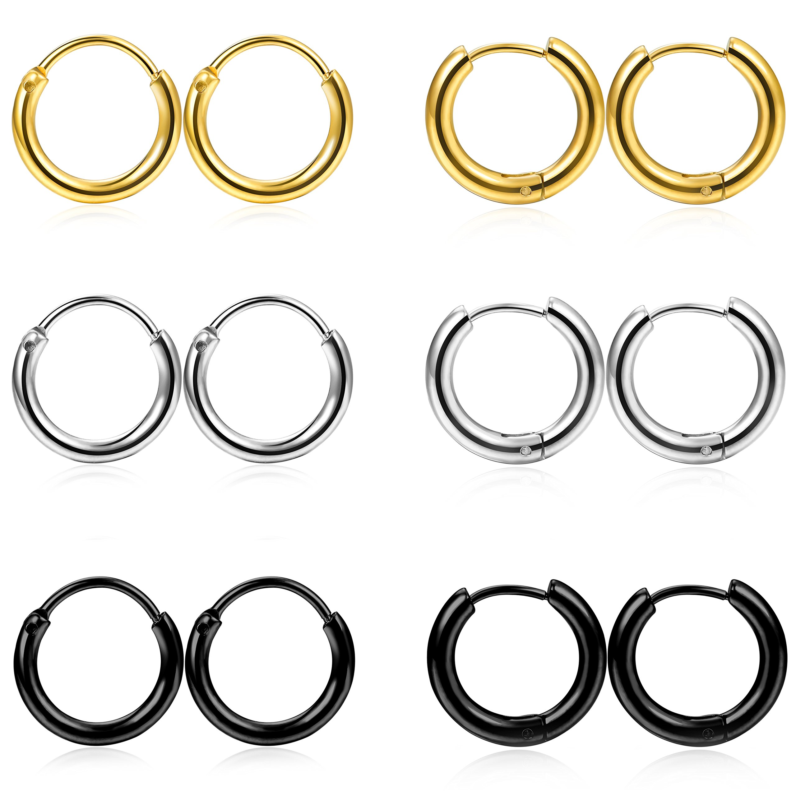 FIBO STEEL 6 Pairs Stainless Steel Cartilage Hoop Earring for Men Women Small Endless Hoop Earring Huggie 18G 10mm Hoop Earrings