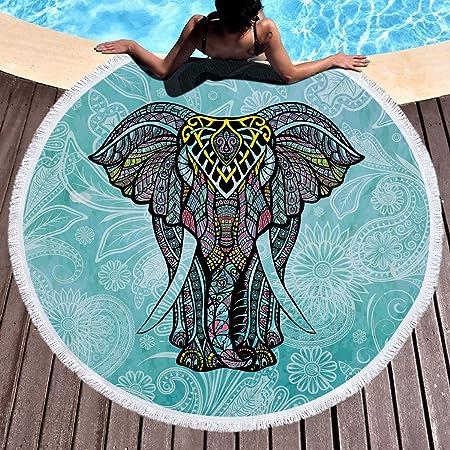 Toalla de playa redonda con flecos, algodón microfibra suave, multiusos, diseño de mandala indio, perfecto para la playa y para hacer yoga, microfibra, Vert Éléphant, 150*150: Amazon.es: Hogar