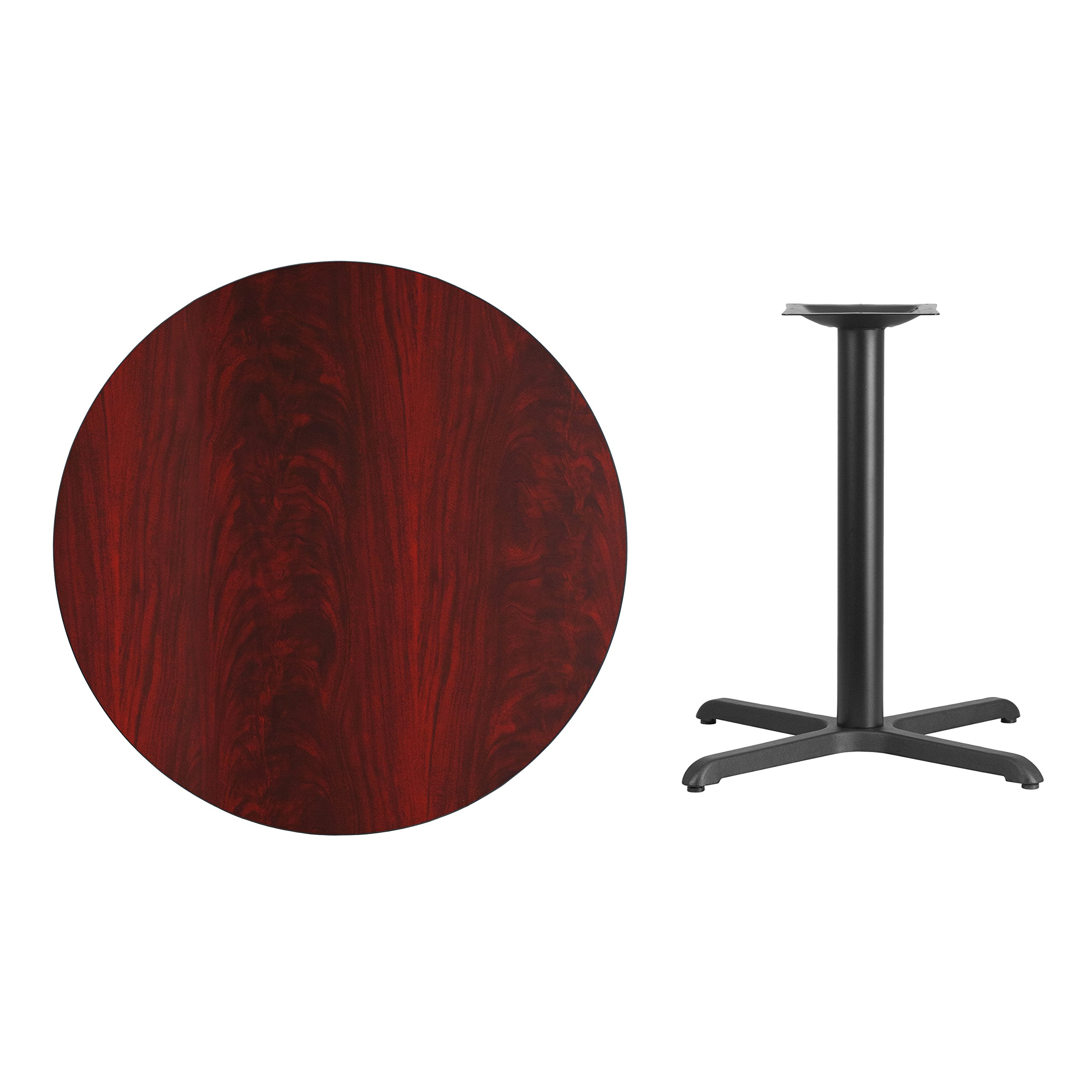 36'' Round Mahogany Laminate Table Top with 30'' x 30'' Table Height Base by Flash Furniture (Image #1)