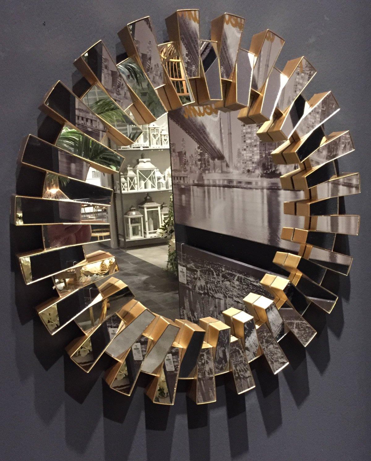 LS-LebenStil LS Design Wandspiegel Rund Rahmen Gold Spiegelfläche ...