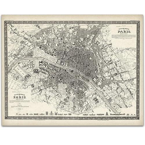 Amazon Com Paris France Map 1844 11x14 Unframed Art Print Great