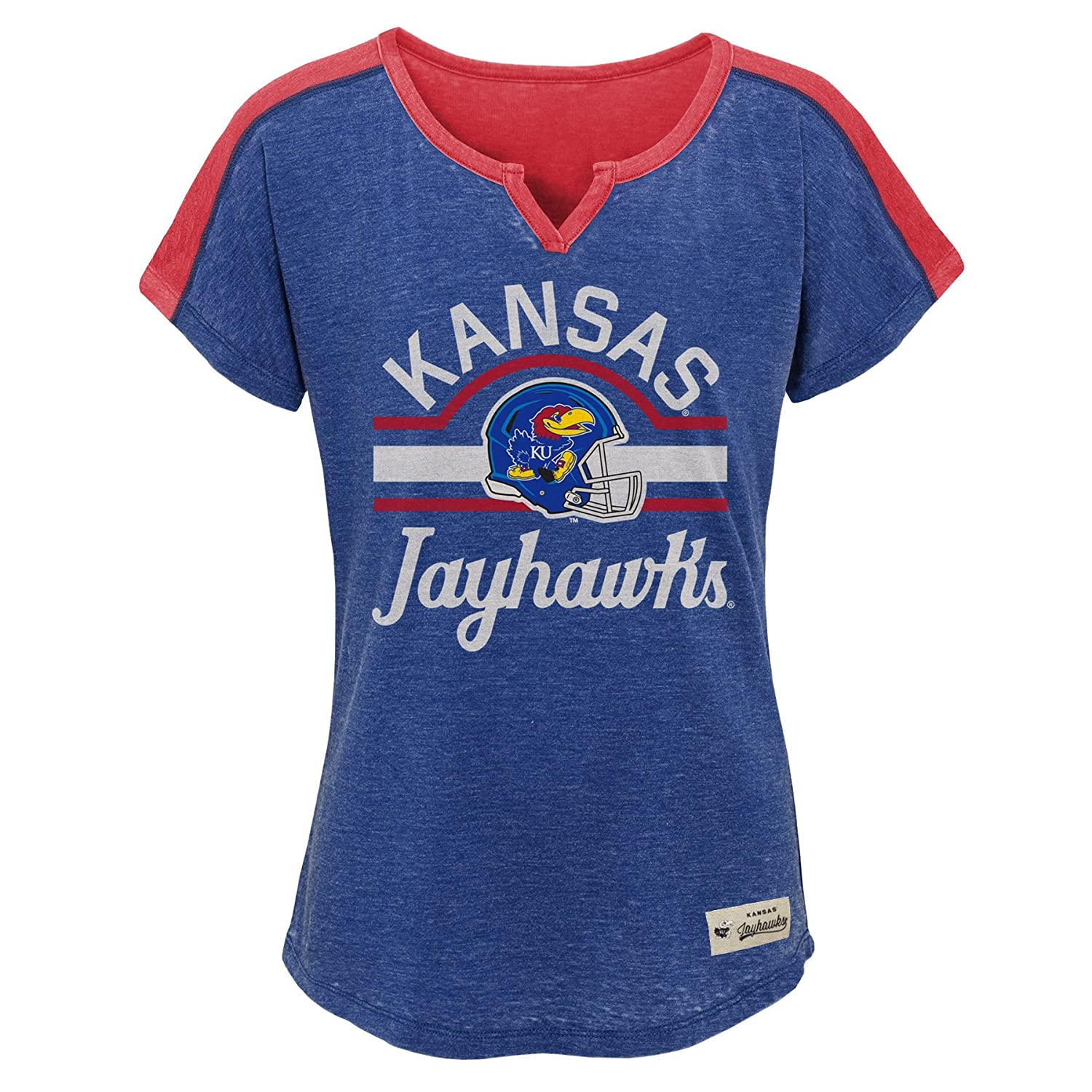 10-12 Youth Medium NCAA by Outerstuff NCAA Kansas Jayhawks Youth Girls Tribute Raglan Football Tee Royal