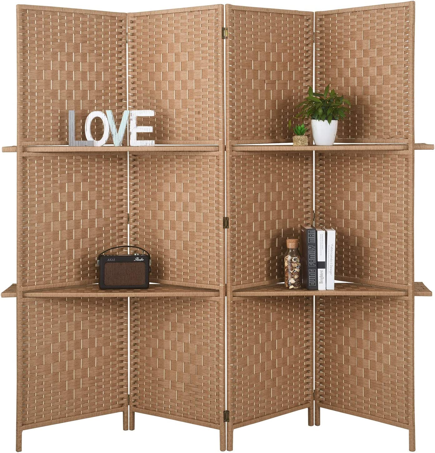 RHF 6 ft.Tall-Extra Wide Diamond Weave Fiber 4 Panels Room Divider,4 Panel Folding Screen Privacy, Partition Wall, Room Dividers with 2 Display Shelves,Natural-4 Panel, 2 Shelves